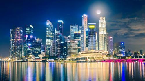 singapore night lights reflection 59253 1920x1080